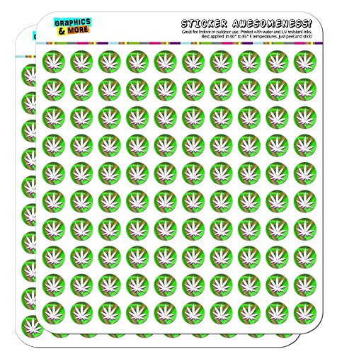 """Marijuana Leaf Pot Weed Psychedelic 1/2"""" (0.5"""") Planner Calendar Scrapbooking Crafting Clear Stickers"""