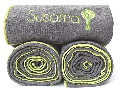 WORLD's BEST YOGA TOWEL! All in 1 Sports & Hot Yoga Towel 100% Microfiber, Super Absorbant, Non Slip, Light, Quick dry No Slipping in Bikram Yoga! #1 for Pilates, Gym, Fitness, Travel & Hiking