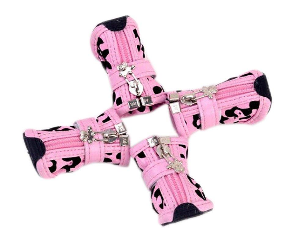 PU Non-slip Zipper Dog Boot Pet Casual Shoes, Pink Leopard Print