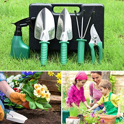 5 teilige Gartenger/äte Sets aus Edelstahl CT Gartenwerkzeug Sets ergonomischer Griff Gartenarbeits-Set mit Tragetasche Geschenk f/ür Gartenliebhaber