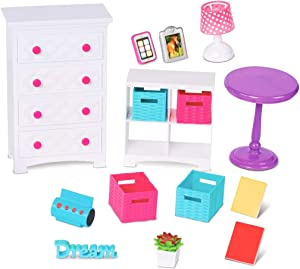 "My life As 18"" Doll Bedroom Accessory Play Set Dresser Lamp Table"