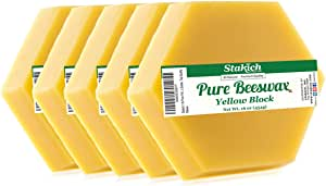 Stakich Pure Yellow Beeswax Blocks - Natural, Cosmetic Grade, Premium Quality - 5 lb (in 1 lb Blocks)