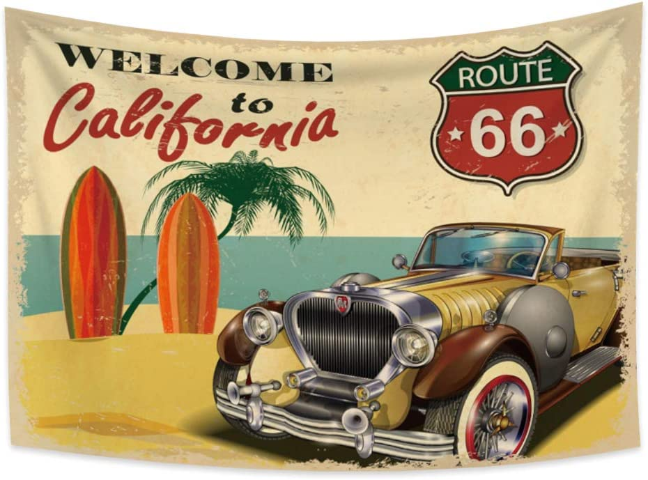 Haoyiyi 59.1x39.4 Inches Car Tapestry Welcome to California Ocean Beach Palm Surfboard Rote 66 Wall Hanging Retro Classical 80's Landscape Tapestry Wall Art for Bedroom College Dorm Decor Bed Cover
