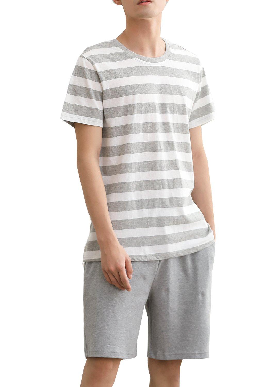 Big's Striped Two Pieces Nightgown Cotton Sleepwear Pajama Set(10y-18y)