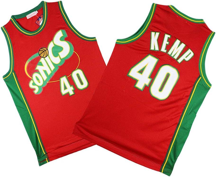Sounders 40# Shawn Kemp Maillots De Basket-Ball pour Hommes et Femmes Portant Un Chandail R/étro Cool en Tissu Respirant LLZYL Maillot pour Hommes