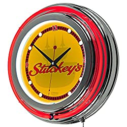 Stuckey's Wordmark Chrome Double Ring Neon Clock