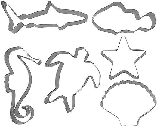 Juego de 6 Cortadores de galletas con temática de mar