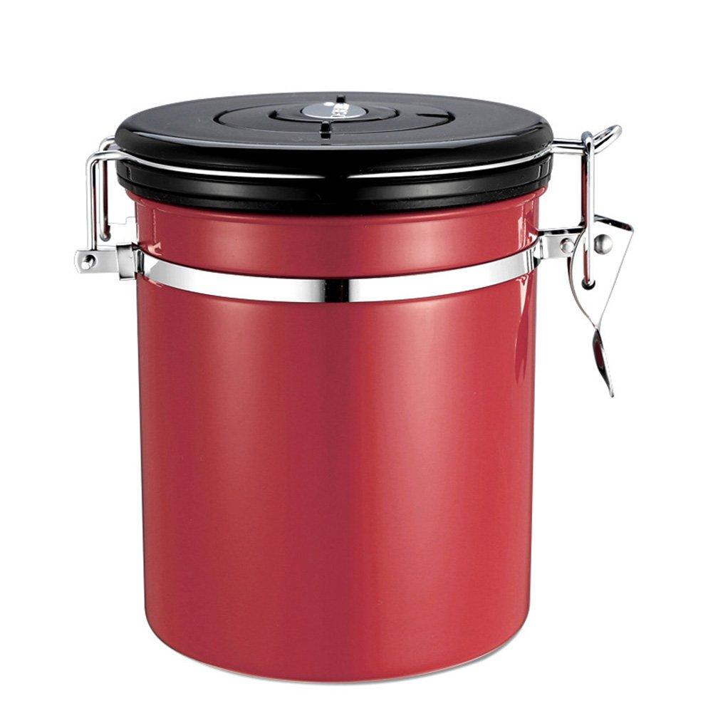 Qjoy Coffee Jar Sugar Bottles Tea Storage Sealed Canister with Exhaust Valve Stainless Steel Pot Home Kitchen Accessories