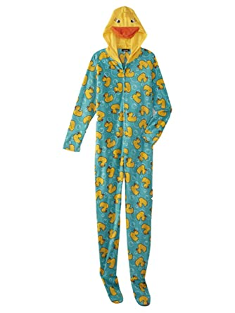Womens Blue Yellow Duckie Blanket Sleeper Duck Pajama Hooded Union Suit M 43d87dc6b