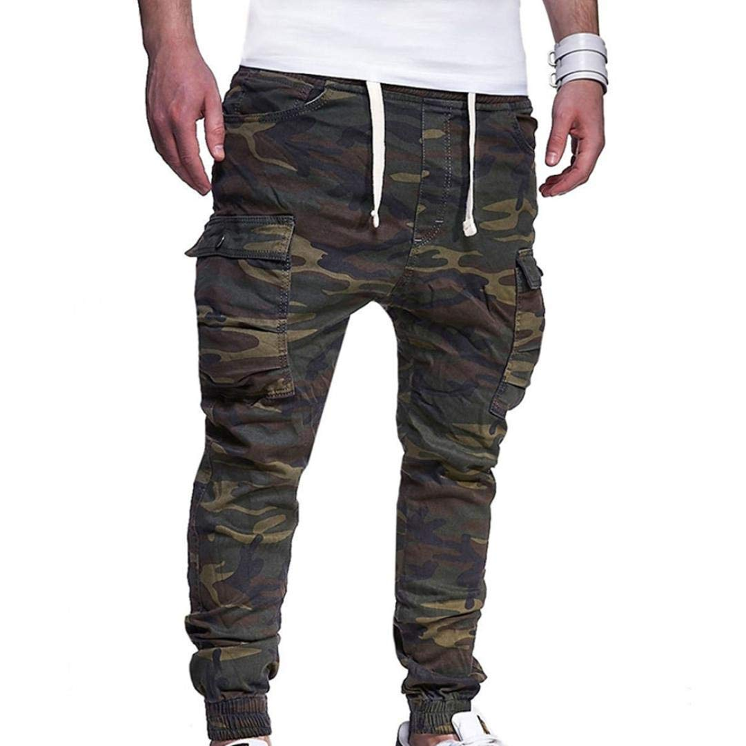Realdo Hot!Clearance Sale Fashion Men's Sport Camouflage Lashing Belts Casual Loose Sweatpants Drawstring Pant(XXXX-Large,Army Green)