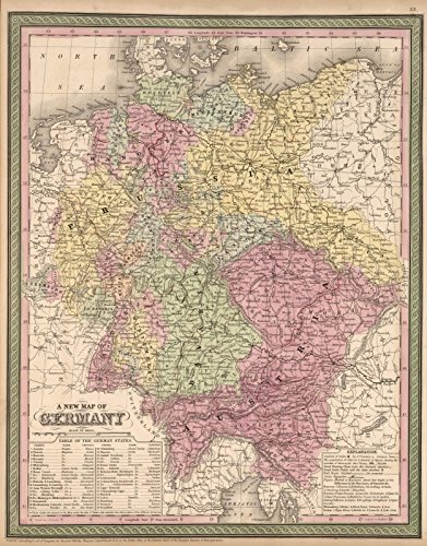New Map of Germany | Historic Antique Vintage Reprint (Germany Antique Map)
