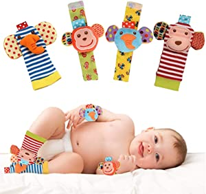 Vittqsuier Baby Socks Toys Wrist Rattle and Foot Finders Socks Set . Educational Development Soft Animal Toy for Toddler.(4pcs)
