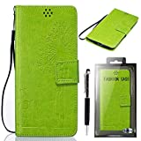 """Sony Xperia Z3 Compact Case, SsHhUu [Dandelion Embossing] Magnetic Stand Card Slot PU Leather Flip Protective Wallet Slim Cover + Stylus Pen for Sony Xperia Z3 Compact / Z3 mini D5083 (4.6"""") Green"""