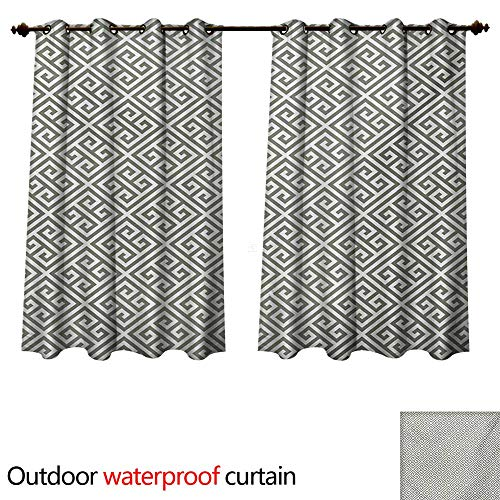 WilliamsDecor Greek Key Outdoor Ultraviolet Protective Curtains Geometrical Composition with Traditional Labyrinth in Sage Green and White W55 x L45(140cm x 115cm) (Labyrinth Of Echo)