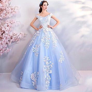 YT-ER Vestido de Novia con Cuentas de Lujo Azul Vestido de Novia de la