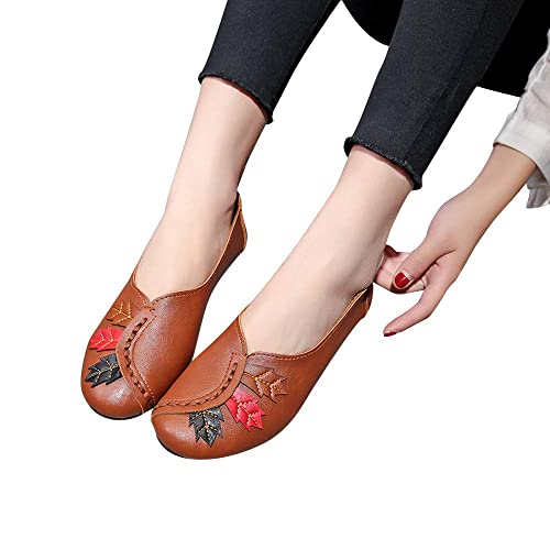 Amazon.com | Dressing Womens Casual Fashion Leaves Round Head Flat, Soft Bottom Pea Boat Shoes Beige | Shoes