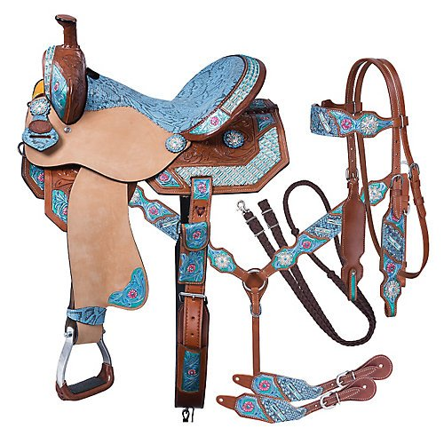 Tough 1 Silver Royal Macaelah Barrel Saddle 5-PC Package 1 ()