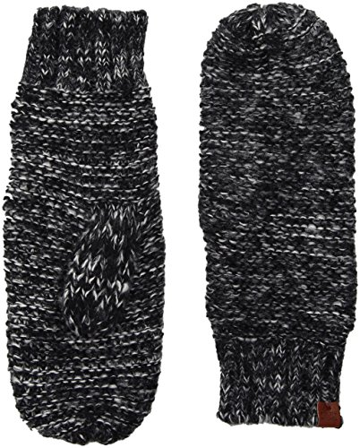 omen's Knit Mittens with Fleece Lining, Black Twist, One Size ()