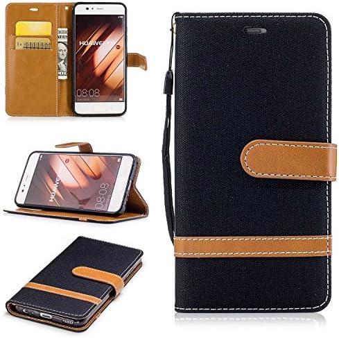 P10 ケース, Zeebox® PUレザー ス手帳 財布型カバー, Huawei P10 対応 女性向 スマートフォンケース, 耐摩擦 耐衝撃 360°保護 財布型 ケース, スタンド機能 マグネット開閉式, 黒