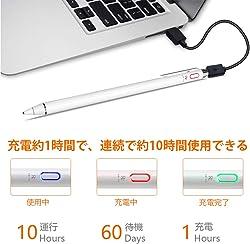 タッチペン 極細 ペン先 スマホ タブレット スタイラスペン USB充電式 銅製ペン先1.5mm 超高感度 軽量 スタイラスペン 10時間稼動 30分間自動オフ iPad iPhone Android対応