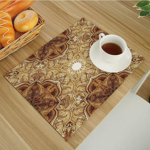 Set of 6 Placemats Heat-Resistant Table Mat Washable Stain Resistant Anti-Skid Place Mats for Kitchen Dining Decoration,Antique Vintage Style Leaf Pattern Classic Islamic Architectural Elements Folk A