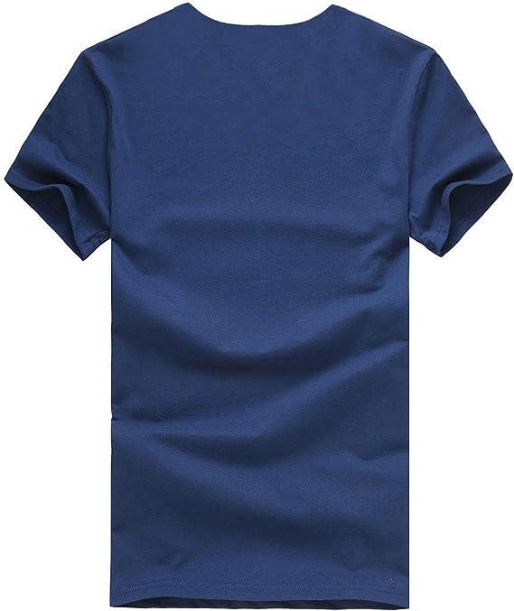 JURTEE Hombre Camiseta Moda 7 Color Cuello Redondo Raya Impreso T ...