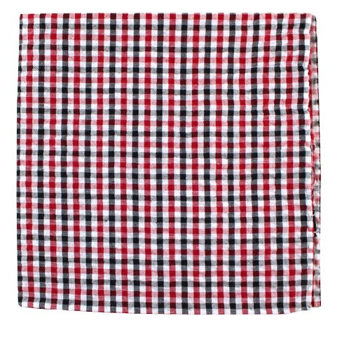 The Tie Bar 100% Cotton Montauk Seersucker Gingham Red and Black Pocket (Red Gingham Pocket Square)
