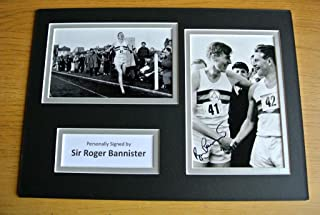 Sportagraphs SIR ROGER BANNISTER HAND SIGNED AUTOGRAPH A4 PHOTO DISPLAY 4 MINUTE MILE & COA