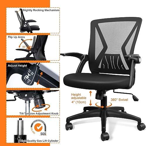 QOROOS Mid Back Mesh Office Chair Ergonomic Swivel Black Mesh Desk Chair Flip Up Arm