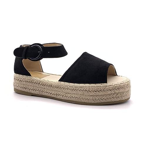 la meilleure attitude 1426d 84db4 Angkorly - Chaussure Mode Sandale Espadrille Plateforme Ouvert Plate Femme  avec de la Paille Corde tressé Talon compensé Plateforme