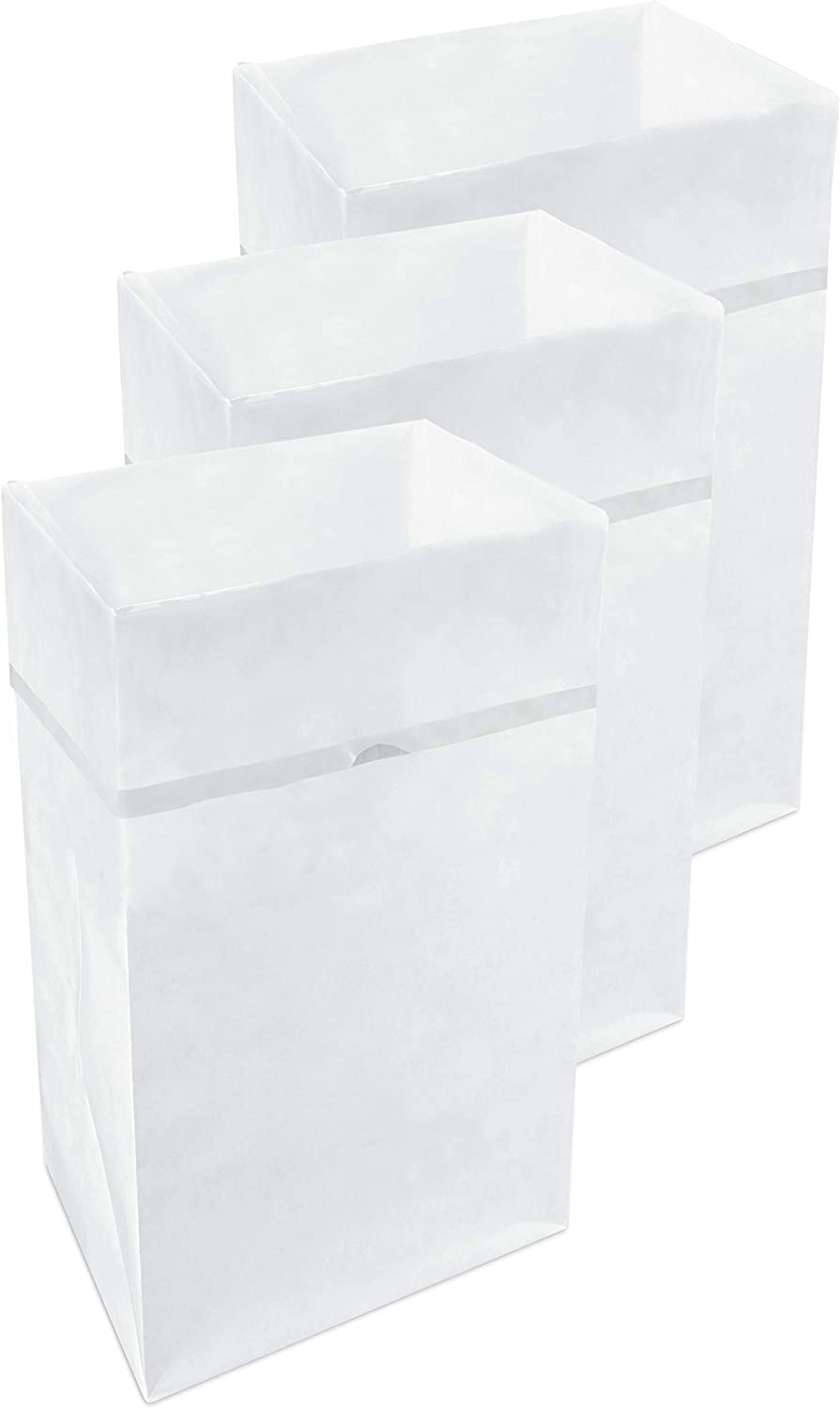 Clean Cubes 30 Gallon Disposable Sanitary Trash Cans & Recycling Bins, 3 Pack (White Pattern)
