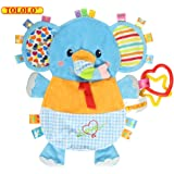 TOLOLO Cartoon Animals Plush Toys Baby Sleeping Toys Newborn Children to Appease Towel Cloth Can Bite (Elephant)