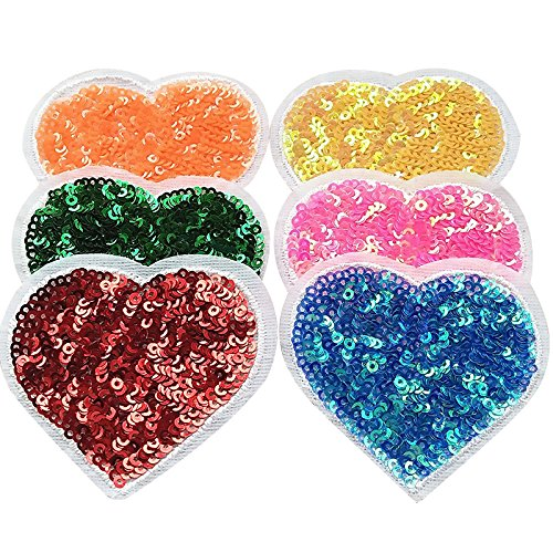 (Libiline 12pcs Big Love Heart with Sequin Kid Embroidered Heart Shaped Patch Sew On/Iron On Patch Applique Clothes Dress Plant Hat Jeans Sewing Flowers Applique DIY Accessory (Love-Heart))