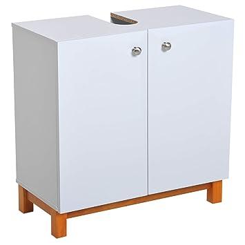 kleankin Armario de Baño Mueble para Debajo del Lavabo Armario Bajo Lavabo  2 Puertas Resistente a 2439cf3a6454