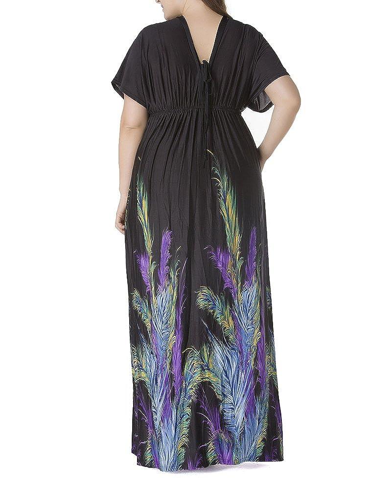 GladiolusA Damen Maxikleid Große Größen Kleid V-Ausschnitt Lange ...