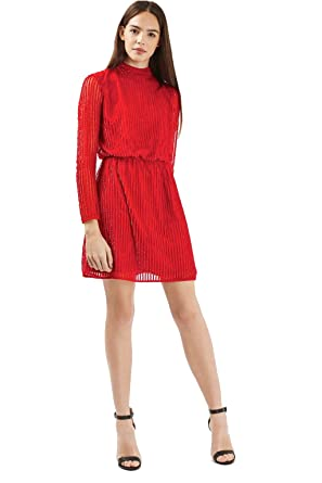 bc486a9e Topshop Red Sequin 80's Roll Neck Skater Dress (38 US 6) at Amazon ...