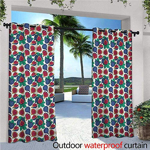 familytaste Fig Outdoor Blackout Curtains Hand Drawn Style Pattern of Ripe and Juicy Fig Fruit Cut in Half with Green Leaves Outdoor Privacy Porch Curtains W120 x L84 Multicolor