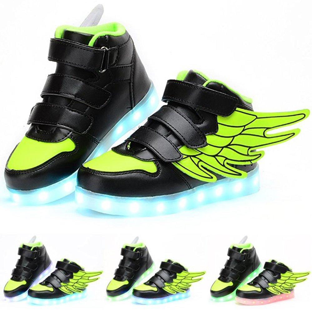 luckfugui Little Big Kid boy USB Flashing LED Shoes Sneaker Green36
