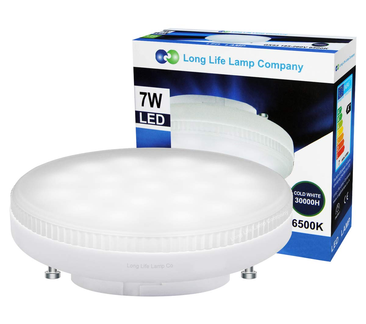 7w LED GX53 Light Bulb Cool White Replacement for Round CFL Under-Shelf Lighting, Display Cabinets, Kitchen Units