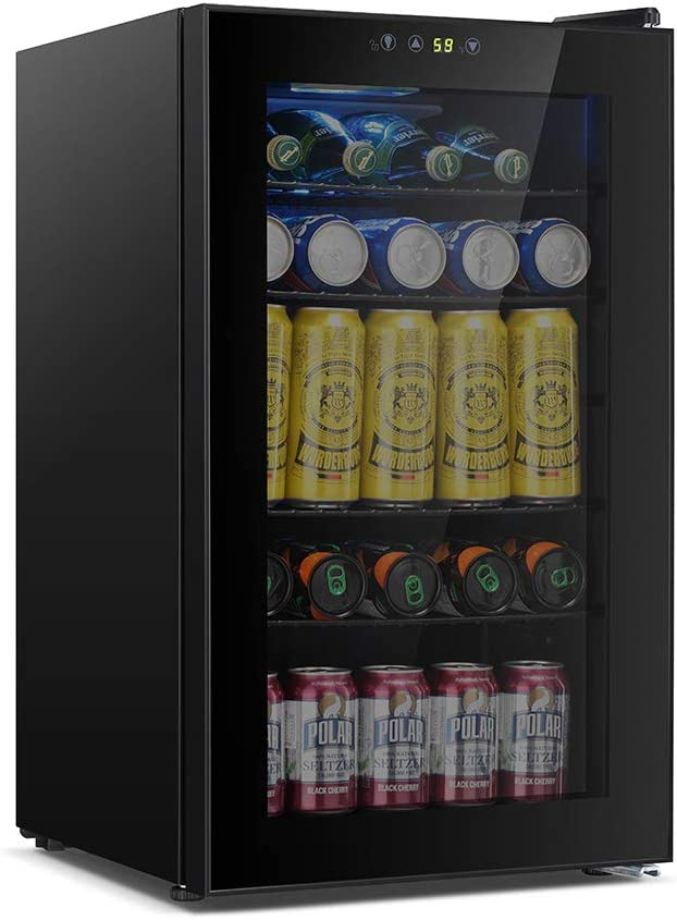 Kismile Beverage Refrigerator, 85 Can Mini Fridge with Glass Door for Beer, Soda or Wine, Under Counter Wine Cooler for Home, Office or Bar (Black)