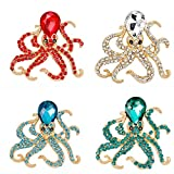 Alonea Octopus Brooch, Women Crystal Diamond Dragonfly Brooch Retro Copper Brooches Collar (4 Pack❤️)