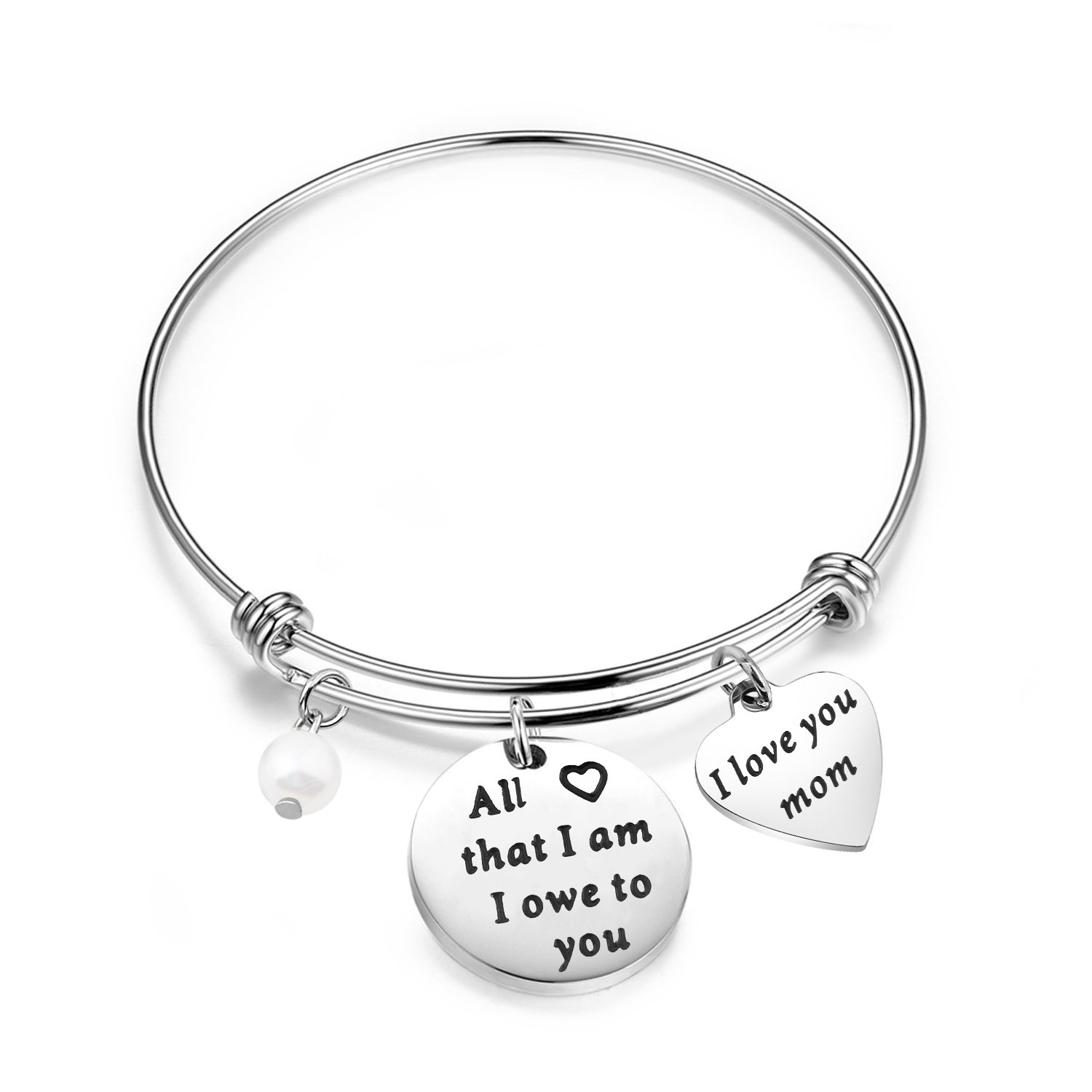 Lywjyb Birdgot Mom Bracelet All That I am I Owe To You Mother's Day Gift From Daughter or Son (Mom Bracelet)