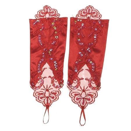 69012545 Hosaire Par de Mujer Mitones Encaje Gótica Boda Novia Tarde Guantes Blanco  Satin Elégant Mascarada Máscara para Venecia Traje Fiesta, Rojo