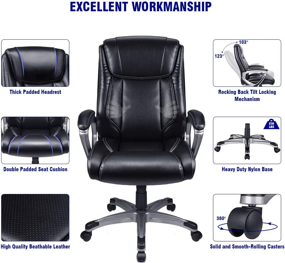 Vanspace High Back Executive Office Chair Big Ergonomic Computer Desk Chair Bonded Leather Chair Adjustable Swivel Executive Chair – Thick Padding Armrest and Headrest for Comfort