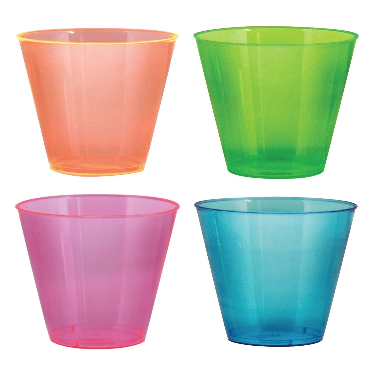 Party Essentials N95090 Brights Plastic Party Cups/Tumblers, 9-Ounce Capacity, Assorted Neon (Case of 600)