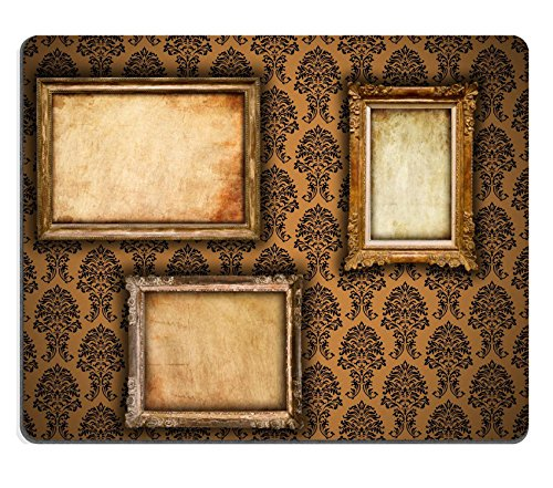 Liili Mouse Pad Natural Rubber Mousepad Gilded frames on vintage damask style wallpaper background and grunge retro paper inserts IMAGE ID 9094838