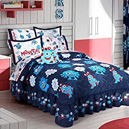 LIMITED EDITION LITTLE MONSTERS KIDS BOYS BEDSPREAD/COMFORTER SET,SHEET SET AND WINDOWS PANELS 12 PCS FULL SIZE