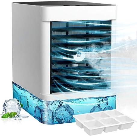 swonuk Ventilador de Aire Acondicionado Personal, versión actualizada, Mini humidificador de circulación de Aire evaporativo, Ventilador de Aire frío, Ventilador de Escritorio silencioso sin aspas: Amazon.es: Hogar