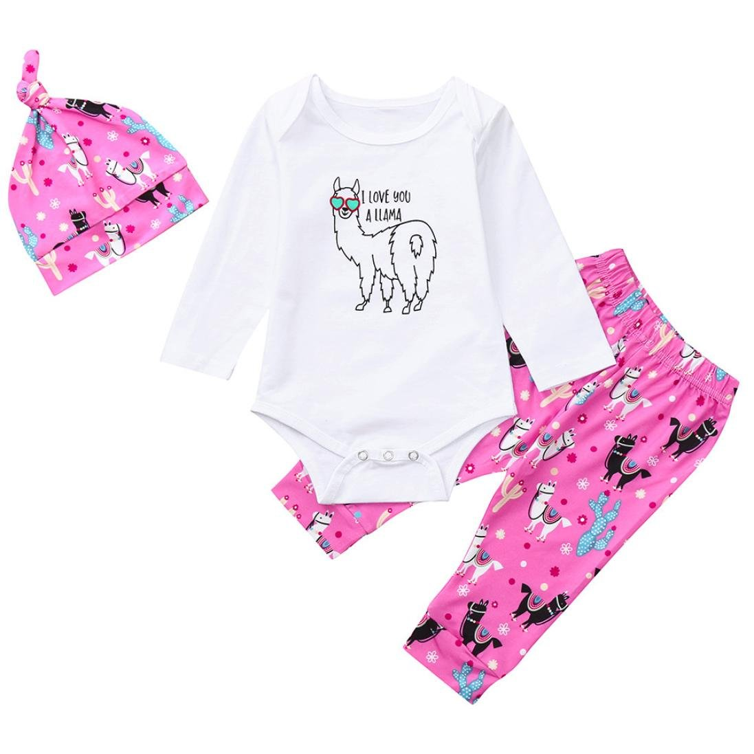 WARMSHOP Newborn Girls 2018 Early Autumn Long Sleeve Cartoon Goat Letter Print Tops Sweater+Long Pants+Baby Hat Clothes Set