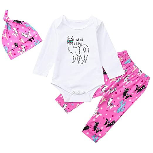af3ab95600374 Amazon.com: WARMSHOP Newborn Girls 2018 Early Autumn Long Sleeve Cartoon  Goat Letter Print Tops Sweater+Long Pants+Baby Hat Clothes Set: Clothing